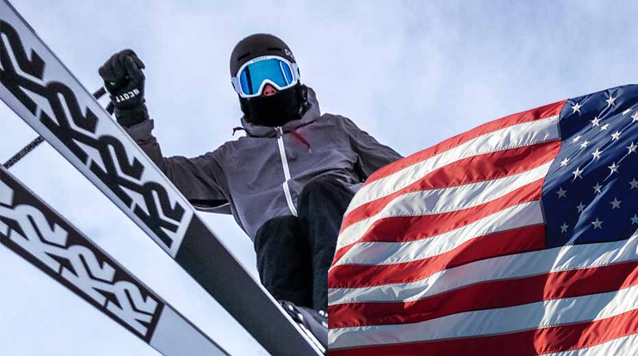 American made skis from K2 Skis with US flag