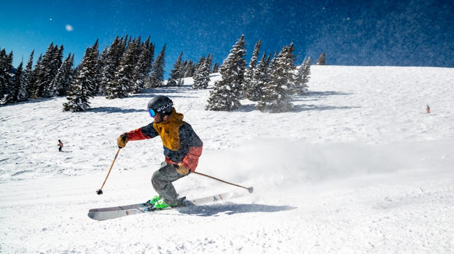 Skier going fast down the slope